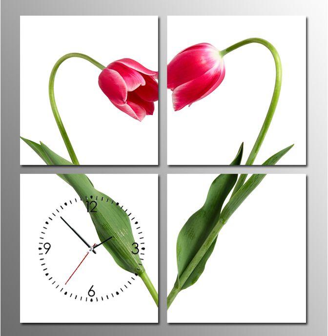 hoa tulip trong tranh dong ho