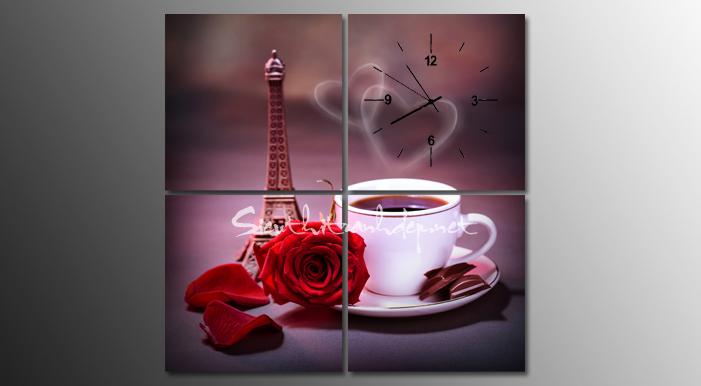 hoa, cafe trong tranh dong ho