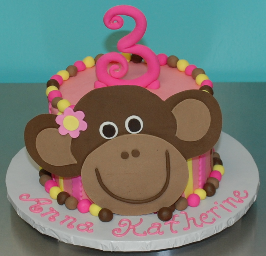 Bánh sinh nhật hình con khỉ cho bé gái