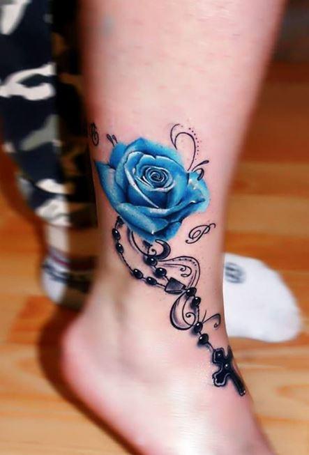 tattoo hoa hong xanh