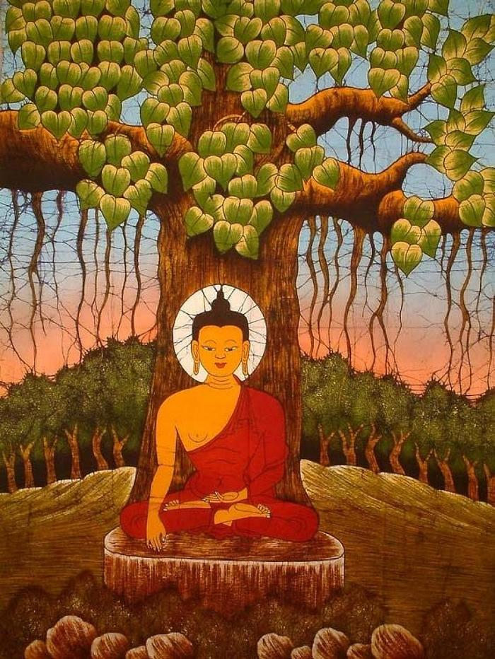 Hình ảnh Đức Phật dưới gốc cây bồ đề